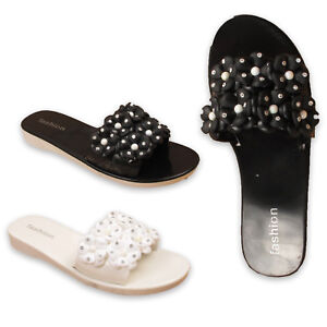 Womens-Ladies-Flat-Flower-Slip-On-Summer-Mules-Holiday-Slides-Casual-Shoes-Size