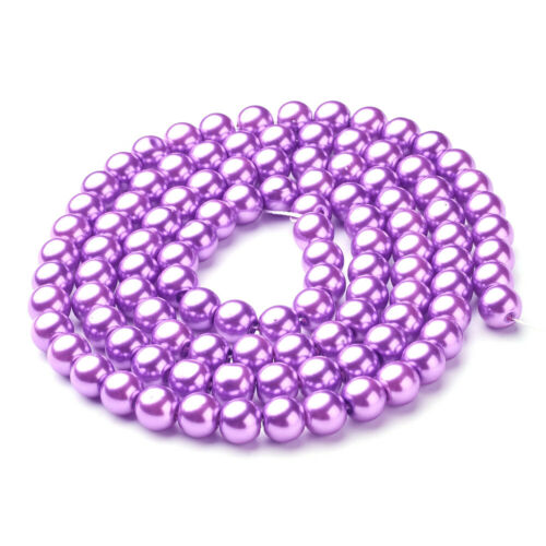"""32/"""" Strd Satin Luster Glass Pearl Beads Smooth Round Tiny Loose Bead 4mm 6mm 8mm"""