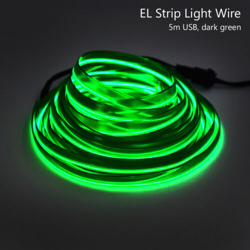 Flat EL Wire Neon Light Rope 2m//5m With USB Inverter For Costume Stage Car DIY