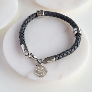 Grey-Leather-St-Christopher-Wristband-Travel-Gifts-Mens-Jewellery-OHSO1005