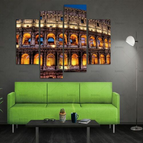 Rome Colosseum Building Modern Canvas Painting Wall Art Modular Picture 4 Pieces