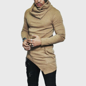Men-Slim-Fit-Tuetleneck-Scarf-Collar-Long-Sleeve-Muscle-Tee-T-shirt-Tops-Blouse