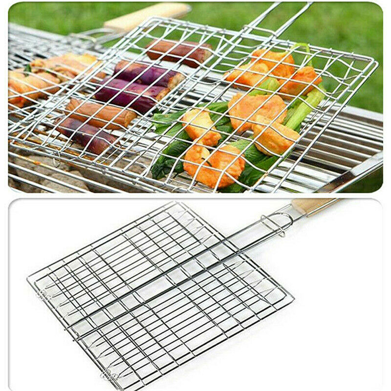 Barbecue Grilling Basket Grill BBQ Net Steak Meat Home Fish Mesh Holder Tool new