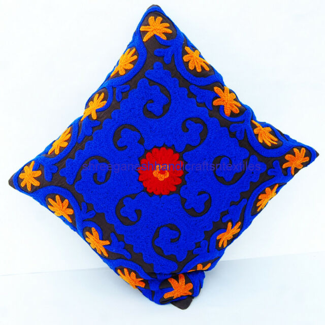INDIAN HAND EMBROIDERY SUZANI CUSHION COVER THROW INDIAN SUZANI PILLOW Case S659