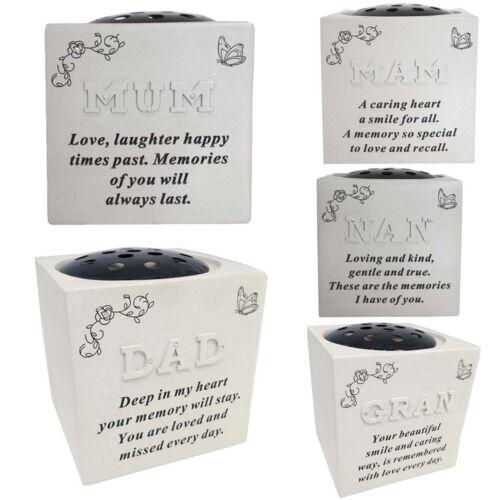 Memorial Raised Lettres Strass Fleur Support Pot Tombe Rose Bowl Souvenir vase