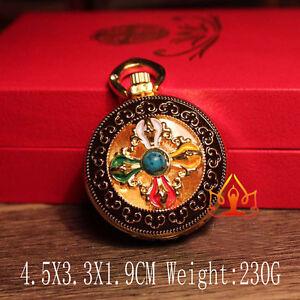 Tibetan-Tibet-Buddhist-Copper-Ghau-Prayer-Box-Vajry-Plating-Amulet-Pendant-DJ156