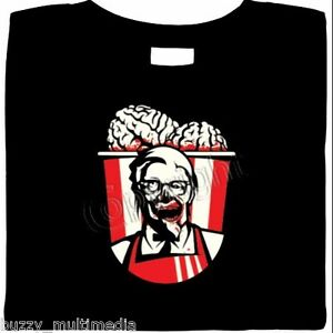 ZOMBIE-Brains-in-a-Bucket-Shirt-Blood-Gore-Finger-Licking-Good-Halloween