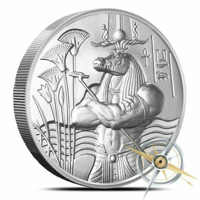 Egyptian Gods Series Sobek Ultra High Relief 2 oz .999 Silver BU Round USA Coin