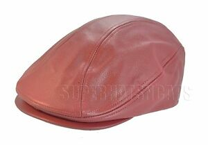 2d6c9823b77 Genuine Leather Newsboy Driving Golf Flat Ivy Ascot Snap Brim Hat ...