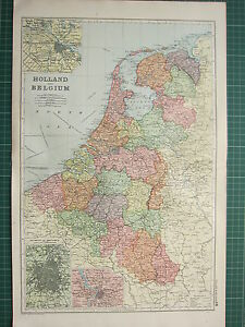 1900 LARGE VICTORIAN MAP HOLLAND BELGIUM AMSTERDAM ANTWERP