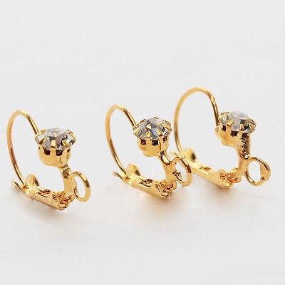 150x 160584 New  Women Clear Rhinestone Golden Tone Earwires Hook Earrings 24mm