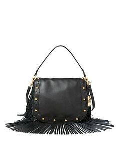 ca25a440a8 Lauren Ralph Lauren Black Leather Fringe Saddle Bag Purse Crossbody ...
