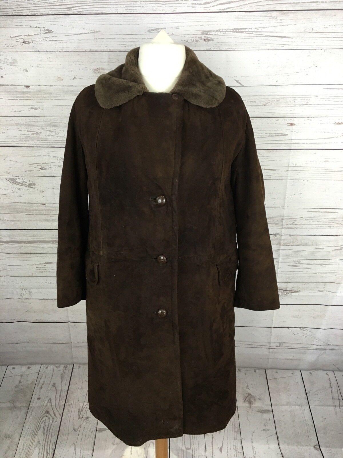Womens Sheepskin Coat - UK16 - Brown - Great Condition