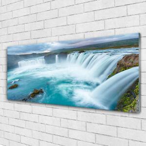 Glasbilder Wandbild Druck auf Glas 125x50 Wasserfall See Bäume Natur