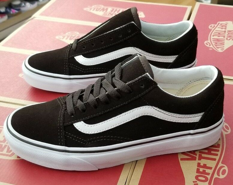 VANS OLD SKOOL (SUEDE) VN0A38G1R1J MOLE ( ESPRESSO) WHITE  MEN SZ 8 (WOMEN 9.5)