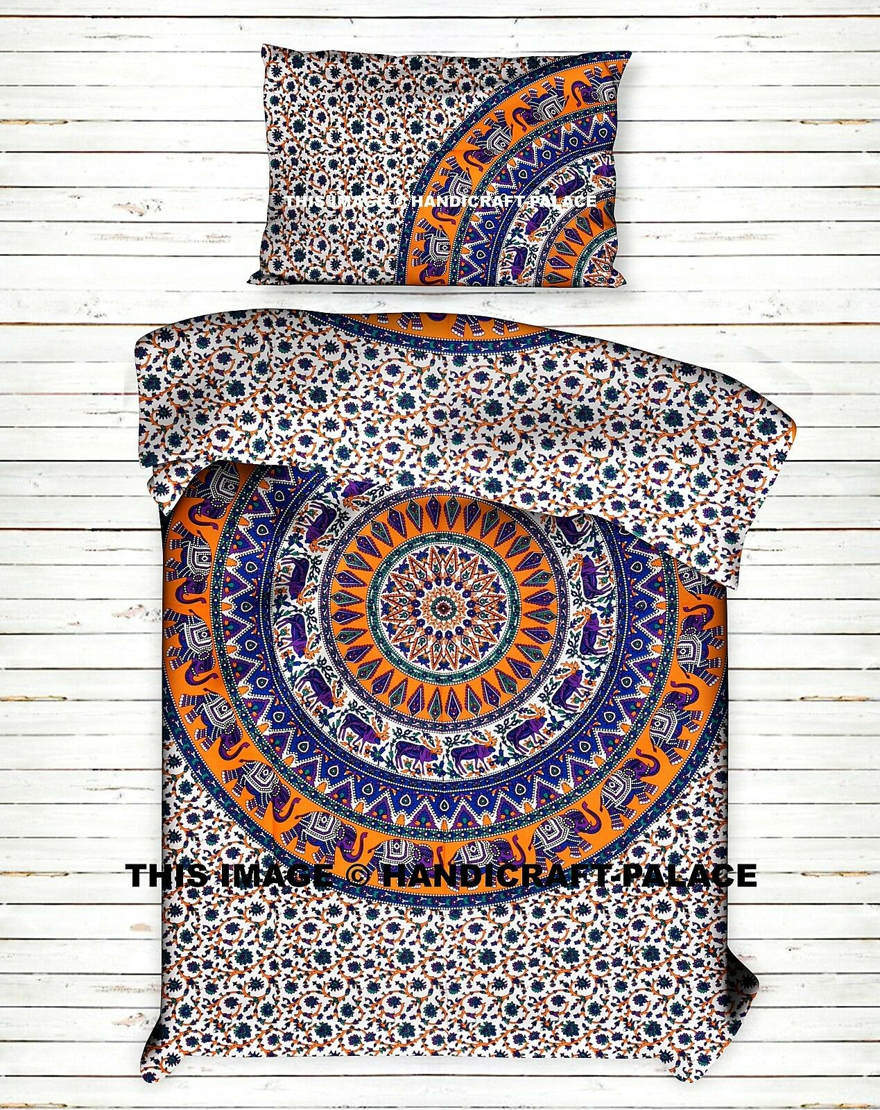 Elephant Mandala Boho Comforter Bedding Set Indian Twin Reversible Duvet Cover