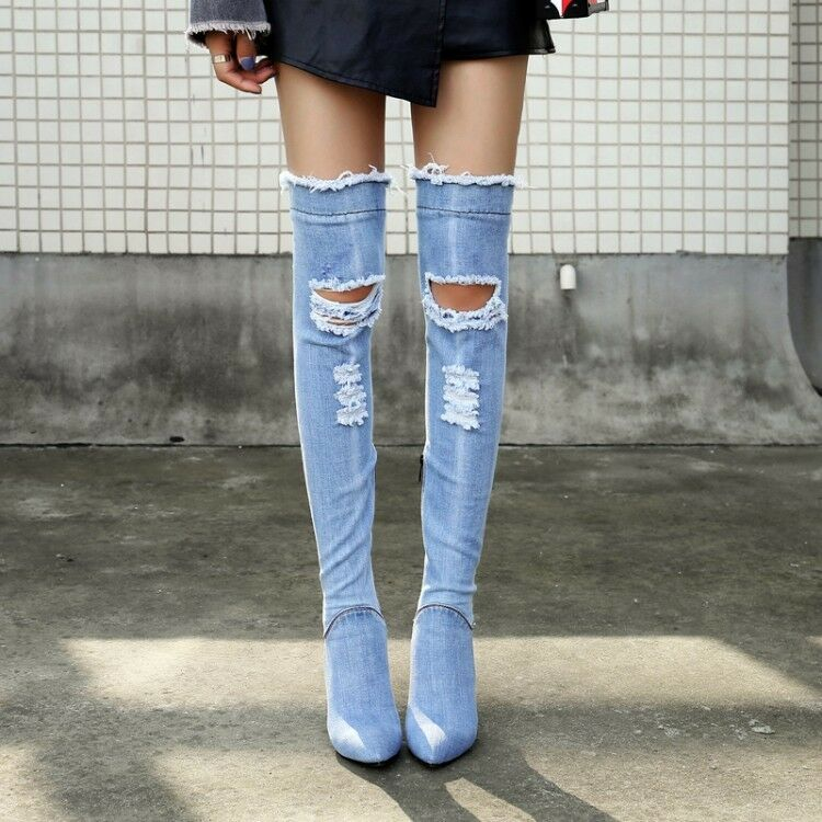 Womens Stretch Denim Thigh High Over Knee Jean Boots Pointy Toe shoes High Heels