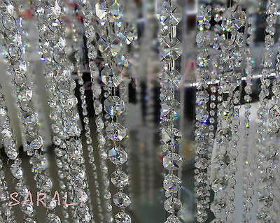 2 METER SUPER SPARKLE CRYSTAL OCTAGON BEADED STRAND GARLAND WEDDING TREE DECOR