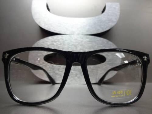 Mens Women CLASSIC VINTAGE Style Clear Lens EYE GLASSES Black Frame Silver Cross