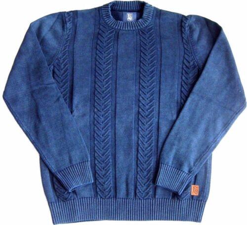 Fq1924 Frontiers of Quebec Kobe Lavorazione a Maglia Pullover Pullover struttura Denim Blue L XL