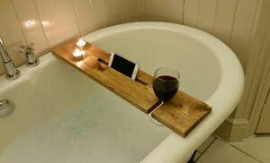 Dark Oak Wooden Rustic Bath Caddy Buddy Shelf Wine Holder