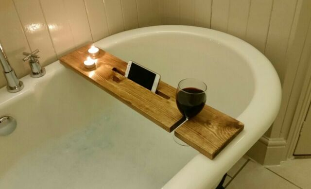 Dark Oak Wooden Rustic Bath Caddy Buddy Shelf Wine Holder Solid Wood ...