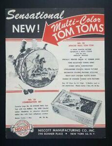Vintage Indian Tom Tom Toy Dealer Catalog Flyer 1954 Nicsott New York