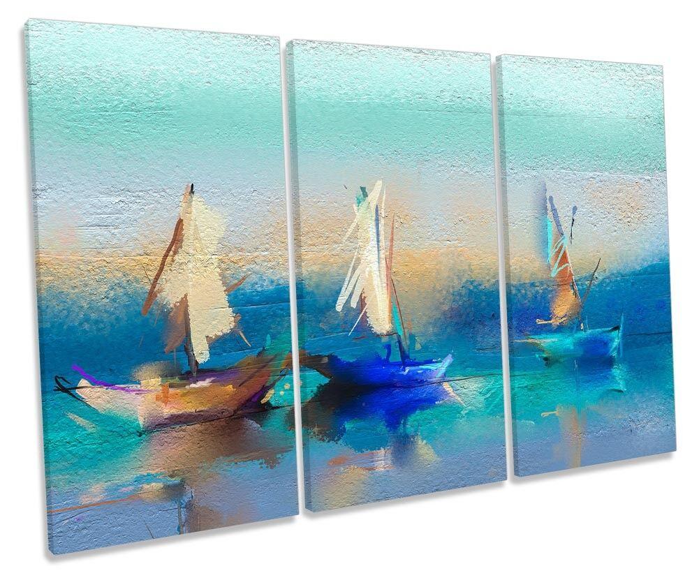 BARCHE VELA Blu Astratto TREBLE TELA parete opera d'arte art art art print 4a18c6