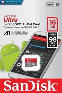 SanDisk-Ultra-16GB-microSDHC-UHS-I-Tarjeta-SD-de-velocidad-hasta-98MB-s-C10-U1-A1-Nuevo