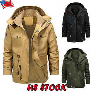 Mens-Winter-Thick-Fur-Lined-Hooded-Jacket-Zipper-Warm-Bomber-Military-Parka-Coat