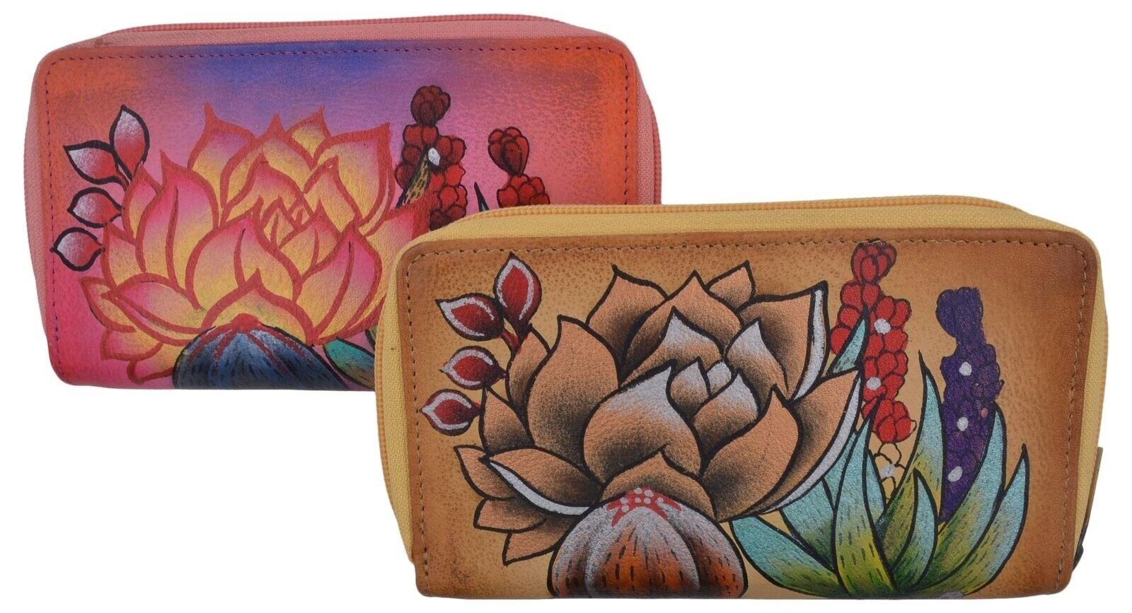 New Handpainted Ladies Wild Flowers Design Leather Double Zipper Womens Wallet