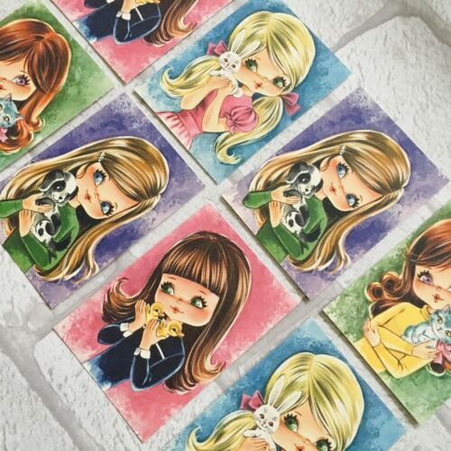 Gift Tags Craft Make Kitsch Vintage Retro Style Cute Girl Pet Card Toppers
