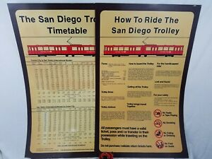 VINTAGE-San-Diego-Trolley-Timetable-How-To-Ride-The-Trolley-Sign-22-1-4-x-35-1-2