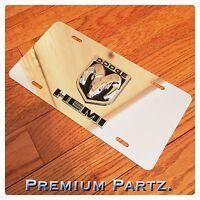 Dodge Emblem License Plate 3d Ram Head Hemi Custom Mirror Chrome Blk/chrome