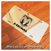 Dodge Emblem License Plate 3d Ram Head Hemi Custom Mirror Chrome Blk/chrome