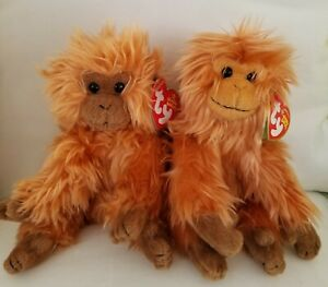 Pair of TY Beanie Babies - CHARLIE & CAIPORA (6 inch) - NWT Tag Error & WWF