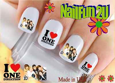 """RTG Set#583 CHARACTER """"1D 3 I Love One Direction"""" WaterSlide Decals Nail Transfr"""