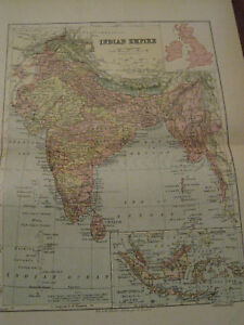 Nice-Antique-Map-of-The-Indian-Empire-c-1895-Johnston
