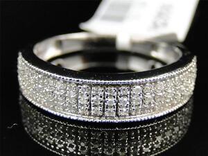 Mens 10K White Gold Genuine Diamond Wedding Engagement Band Ring