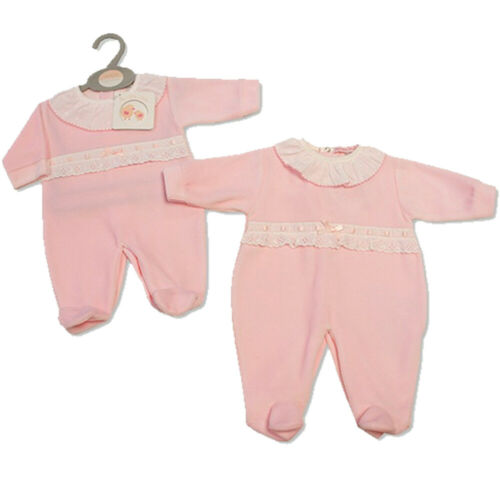 NEWBORN BABY GIRL SPANISH PINK LACE /& BOW VELOUR ROMPERS BABYGROW SLEEPSUIT GIFT