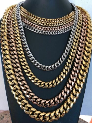 Mens Miami Cuban Link Chain Gold Plated Stainless Steel 8-18mm Yellow//Rose//White