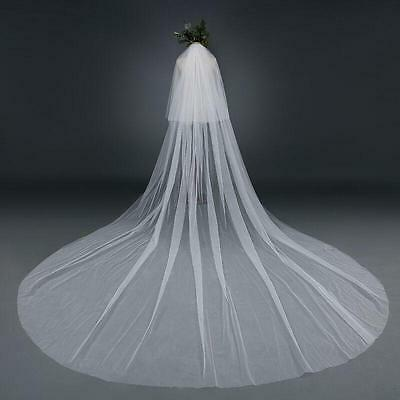 One Layer 118/'/' Wedding Veil Cut Edge White Ivory Long Bridal veil Cathedral