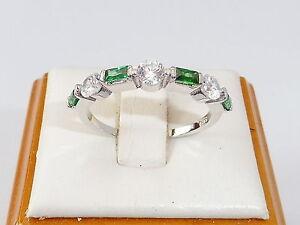 Damen-Sterling-925-Feinsilber-7-Stein-Weisser-Saphir-und-Smaragd-Eternity-Ring
