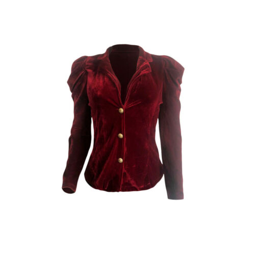 Women long sleeves velvet button casual club party evening coat tops jackets