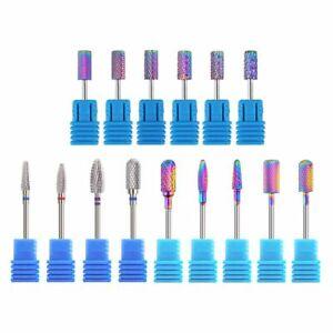Nail-Art-Drill-Bit-Tungsten-Steel-Carbide-Burr-Rainbow-Electric-Manicure-Tool