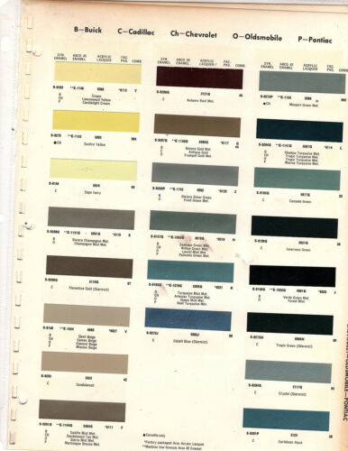 1966 CHEVROLET CORVETTE BUICK RIVIERA PONTIAC OLDMOBILE CADILLAC PAINT CHIP ARCO