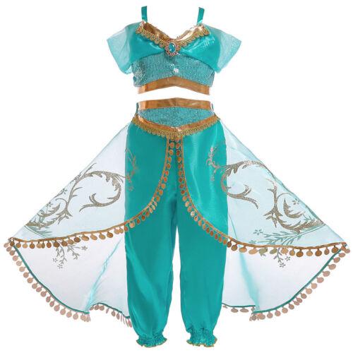Kids Girls Aladdin Costume Princess Jasmine Outfit Sequin Party Fancy Dress