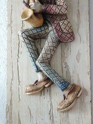 Saxophonist Wandfigur Figur Relief Bild Vintage 60er - 70er Jahre PüNktliches Timing