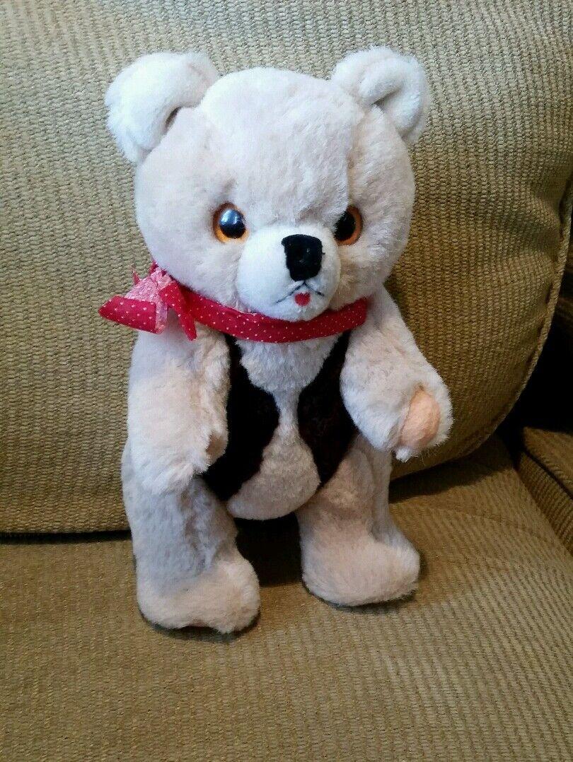 Vintage Western Teddy Bear fawn jointed stuffed animal plush felt paws/tongue