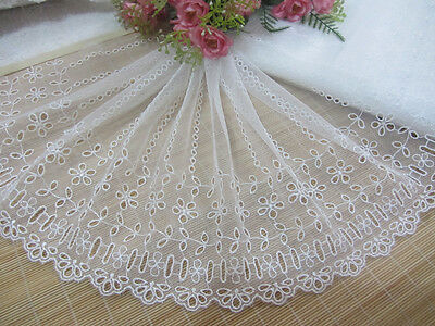 """9""""*1Y Embroidered Floral Tulle Lace~White~Daisy&Willow Branch~Doll/Dress/Wedding"""